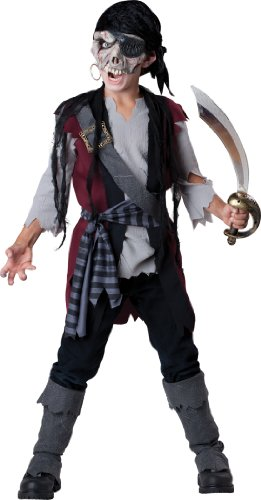 Costume Zombie Pirate (InCharacter Costumes Child's Shipwrecked Pirate Costume, Black/Grey, 12)
