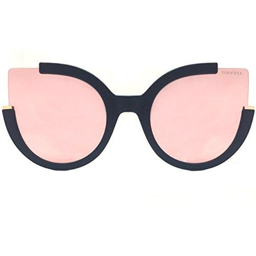 TopFoxx Chloe High Fashion Cateye Sunglasses for Women, Rose Gold & Black