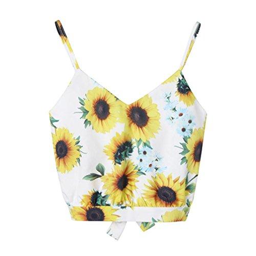 Sexyville Camisole Femmes Col-V sans Manche Florale Impression Cami N?ud Papillon Tops Chemisier T-Shirt Vest Dbardeur Jaune