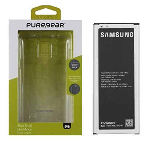 New Original Samsung Galaxy Note 4 IV Battery with PureGear Hard Shell Case for BN910BB SM-N910 N910A N910T - Retail Packaging
