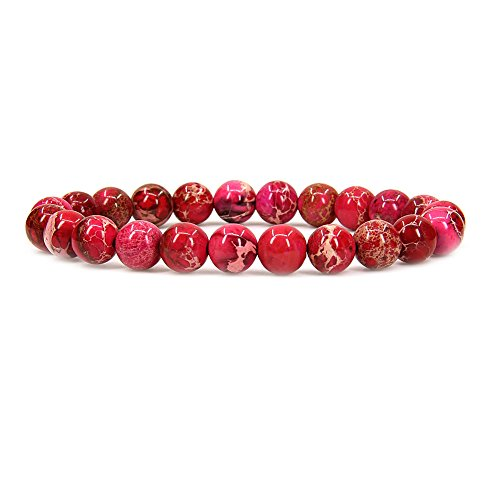(Amandastone Natural Rose Sea Sediment Jasper Gemstone 8mm Round Beads Stretch Bracelet 7