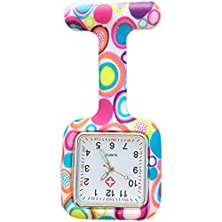 Boolavard® TM Nurses Infection Control Colored Patterned Silicone Rubber Fob Watches - SQUARE Colourful Bubbles