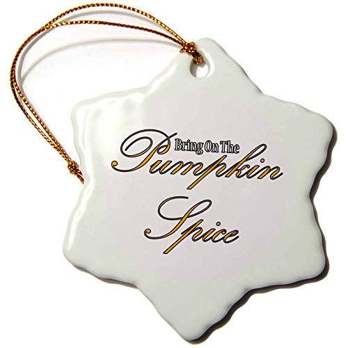 (3dRose BlakCircleGirl - Food - Pumpkin Spice - This is What You wear When You Enjoy The Amazingness of Pumpkin Spice - 3 inch Snowflake Porcelain Ornament (ORN_306713_1))