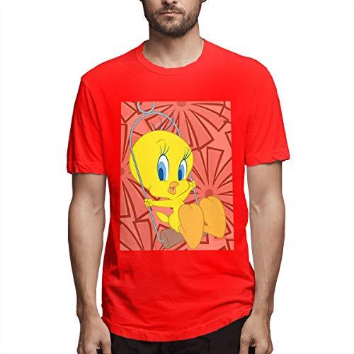 - Monicame Men's Tweety Bird Swing Fashion Print T-Shirt Short Sleeve Red