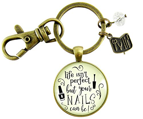 (Manicurist Gift Keychain Life Isn't Perfect But Nails Can Be Beautician Jewelry Glam Quote Gift For Women)