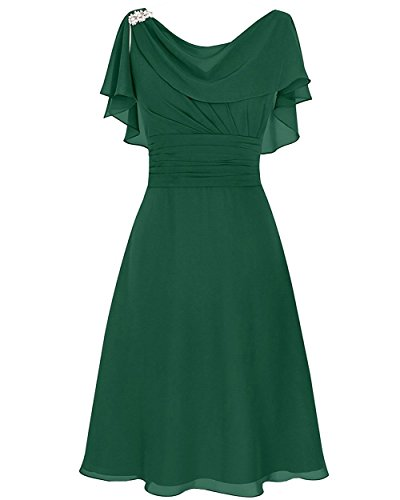 VaniaDress Women A Line Ruffles Short Evening Dress Prom Gowns V086LF Dark Green US22W