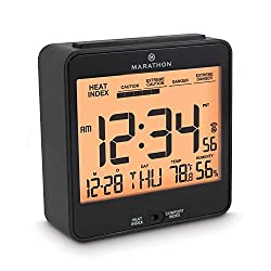 Marathon CL030054BK Atomic Alarm Clock with Humidex, Date and Indoor Temperature. Backlight, Snooze and Loud Alarm. Batteries Included. Color-Black.