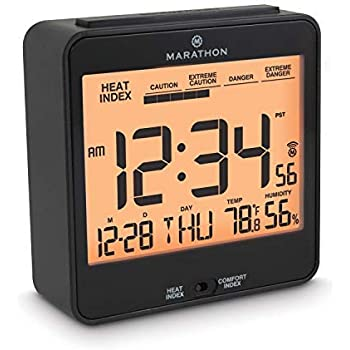 Marathon Atomic Alarm Clock with Humidex, Date and Indoor Temperature. Backlight, Snooze and Loud Alarm. Batteries Included. Color-Black. SKU- CL030054BK