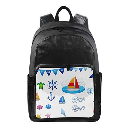 Nautical Clipart - Canvas Backpack Laptop School Hiking Travel Bag for Women Men Lightweight Nautical Clip Art