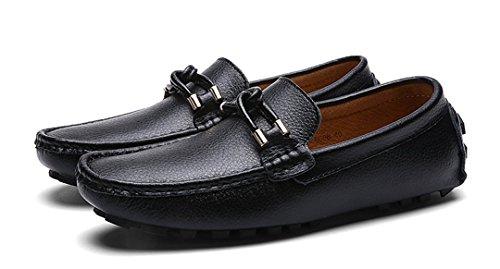 Tda Mens Klassiska Bekväm Knut Halka På Skinndrivaffärs Loafers Båt Skor Svarta