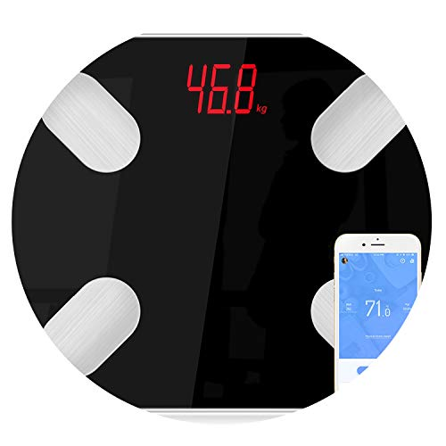 S4 Body Fat Scale Floor Scientific Smart Electronic Led Digital Weight Bathroom Balance Bluetooth App Android Or iOS,Black (Best Electronic Scale Inhibitor)