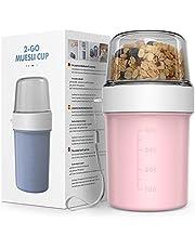 Jim's Store 2-in-1 mueslibeker om mee te gaan yoghurtbeker to-go, koffiebeker, plastic beker, praktische lekvrij, geschikt voor kinderen en kantoormedewerkers