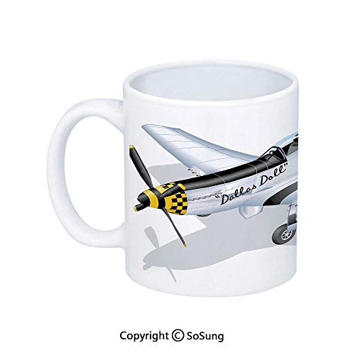 Vintage Airplane Decor Coffee Mug,P 51 Mustang Dallas Doll Detailed Illustration American Air Force Decorative,Printed Ceramic Coffee Cup Water Tea Drinks Cup,Multicolor