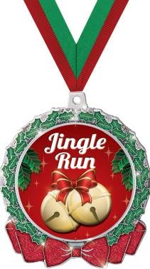 HOLIDAY MEDALS - 2.75'' Glitter Wreath Jingle Run Medal 50 Pack by Crown Awards