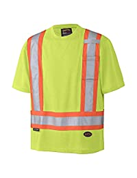 Pioneer Soft Moisture-Wicking High Visibility T Shirt, Premium Birdseye, Yellow/Green, L, V1051160-L