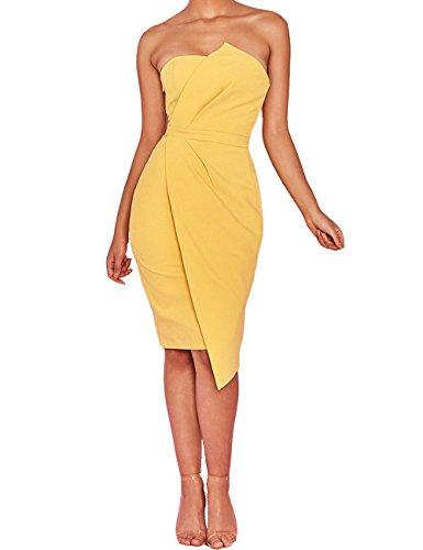 Asymmetric Cocktail - Whoinshop Women 's Strapless Fold Front Bodycon Celebrity Party Mini Dress Yellow L