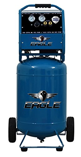 - Eagle EA-6500 Silent Series Air Compressor 125 Psi Max Hot Dog with Wheels, Blue, 20 gallon