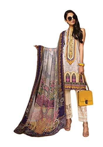 (IshDeena Pakistani Designer Lawn & Chiffon Dresses for Women Ready to Wear Salwar Kameez (Large, Purple - Viva by Ananya))