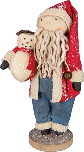 Primitives By Kathy 16 Inches Tall Fabric Metal Wood Santa With Snowman Decorative Ornament -