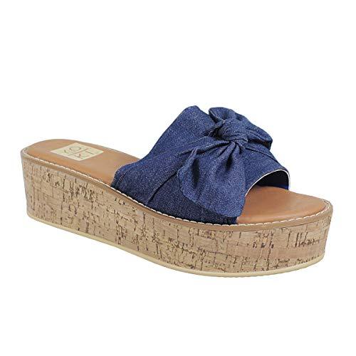 Yoki Women's BEATRICE-06 Bow Design Cork Wedge Sandals
