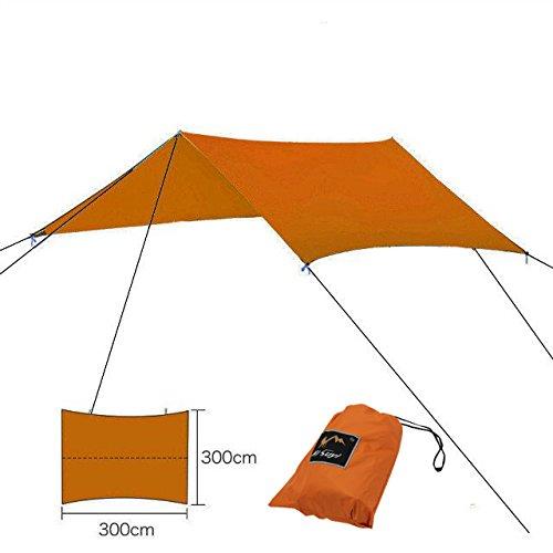 Suyi ポータブル 軽量 キャンプ テント タープ シェルター マット ハンモック カバー 防水 サンシェード キャンプ用品 重要なサバイバルギア ステーク付属 キャリーバッグ付き B0773MH4FY オレンジ オレンジ