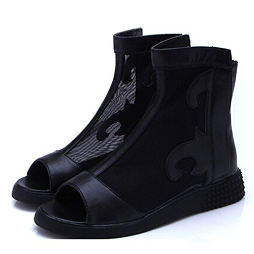 Spritech(TM) Women Girl Summer Net Yarn PU Leather Open Toe Platform Peep Toe Bootie Flat Shoes Black 38 Black Glazed Calf Leather