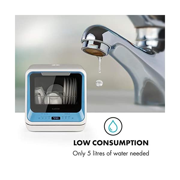41EB8uhzvQL Klarstein Amazonia Mini Geschirrspüler, Spülmaschine mit Platz für 2 Maßgedecke, 6 Programme, 5 L Wasser benötigt, LED…