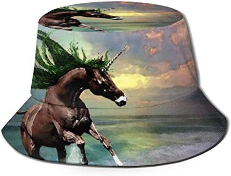 Junkai 飛んでいる 馬 バケットハット 男女兼用帽子 UV 翼幅広 紫外線対策 日よけ 小顔効果