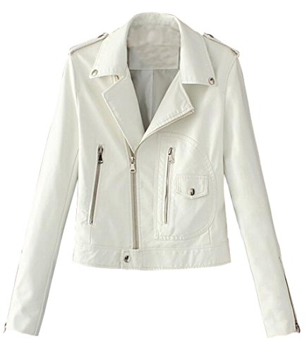 Vintage White Leather Jacket - 2
