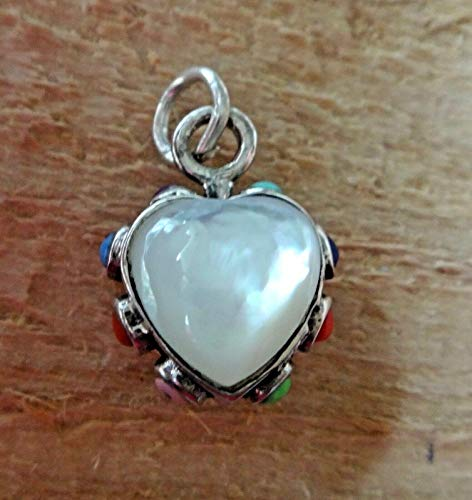 Fine Charms Sterling Silver 3D 16x13mm Reversible White Mother of Pearl Heart + Stones