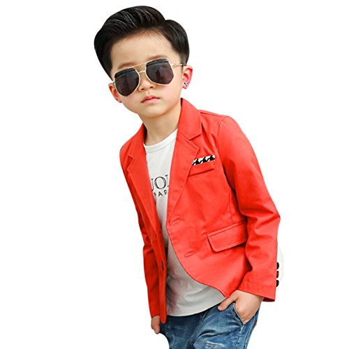 Uwback Boys' Fashion Blazers Casual Jackets Red CN 130