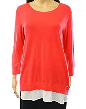 Calvin Klein White Women's Medium Crewneck 2-fer Sweater Red M
