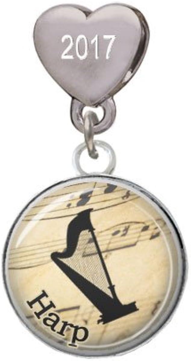 Harp Custom Year Stainless Steel Heart Bead Charm Domed Music