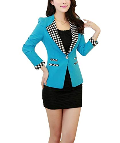 Elegante Cappotto Autunno Giacche Slim Ragazza Tasche Con Giaccone Lunga Donna Manica Da Ufficio Button Vintage Business Primaverile Giacca Fit Fashion Reticolo Blau Tailleur Blazer xn1n40q