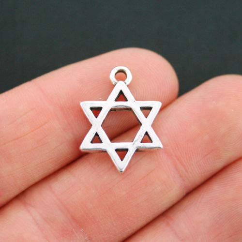 Jewelry Making 5 Star of David Charms Antique Silver Tone 2 Sided - SC2373 Perfect for Pendants, Earrings, Zipper pulls, Bookmarks and Key Chains (Pull Ring Zinc)