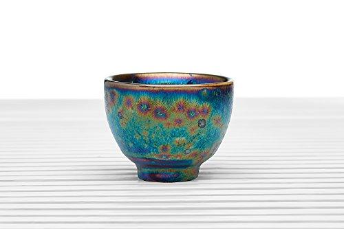 Ceramic Tea Bowl Cup Footed Chawan Porcelain Teacup Metallic Glaze Chinese Teaware (blue, purple, copper, 1.7 oz)