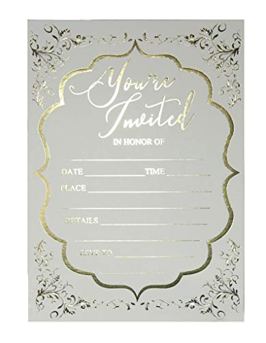 (Fill in Invitations Wedding, Gold Foil - 25 Pack - Wedding Invitation, Hot Stamp Press. Party Invitations Birthday, Anniversary Celebration, Bridal or Baby Shower (Invitation Gold 1))