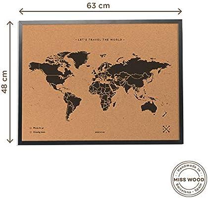 Miss Wood Map L Mapa del Mundo de Corcho con Marco, Negro, 48 x 63 ...