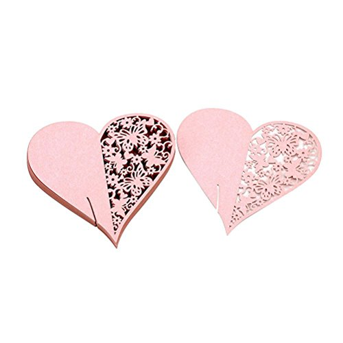 Wedding Table Paper Place Card Escort Name Card Wine Glass Card for Wedding Party Heart Shape Decoration 50pcs (Pink)