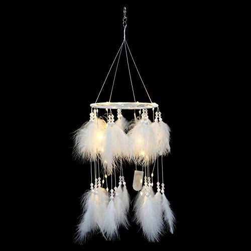 Ruili Inc Led Dream Catcher Light Boho Dreamcatcher Light Handmade 3D Wind Chime Led Fairy Light Lantern Design Wall Hanging Ceiling Bedroom Decor Ornament Craft White