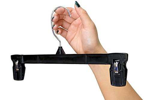 UPC 769560426544, Hanger Central Bottom Skirt and Pants Hangers Bulk Pack of 50 8 inch Recycled Plastic Heavy Duty Thin Non Slip Black Pinch Clip Clasp Break Resistant Grip Hangers with Polished Metal Swivel Hooks