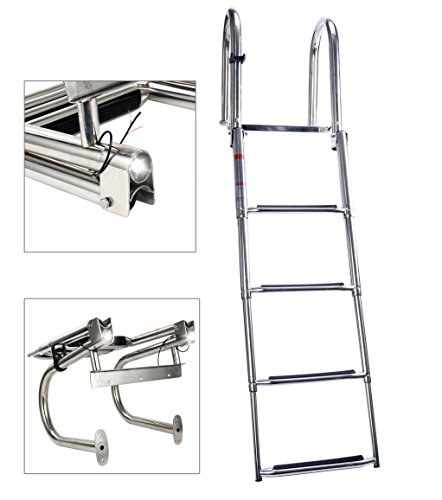 Amarine Made 4 Step Premium Stainless Folding Rear Entry Pontoon Boat Ladder w/Extra Wide Step with led Light
