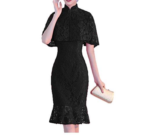 Knielang Festlichkleider Schwarz Brautmutterkleider Partykleider mit Charmant Damen Abendkleider Stola P4qnx5U