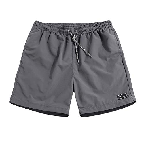 Men's Sports Runnning Swim Board Shorts Quick Dry Swim Trunks Bathing Suit Beach Shorts with Pocket (XXXXL, Gray)
