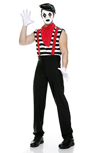 Costume Mens Mime (Music Legs Men's Silent Mime, Black/White/Red,)