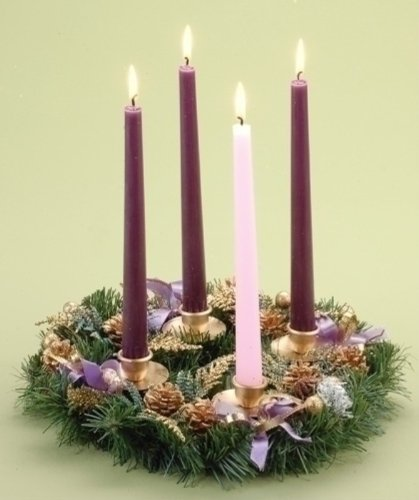 Golden Pine Cone And Purple Ribboned Christmas Advent Wreath by Roman (Purple Wreath Christmas)