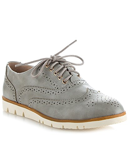 RF ROOM OF FASHION Women's Wing Tip Saddle Lace Up Platform Oxford Flats - Trendy Flatform Shoes Ice - Womens Wing Tips