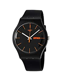 Swatch SUOB704 dark rebel black silicone strap black dial unisex watch NEW