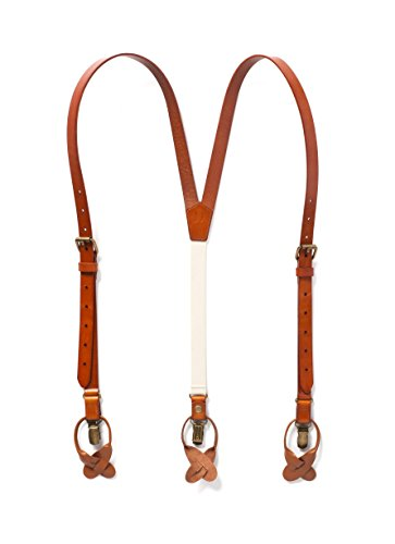 20s Attire (Leather Suspenders, Mens Suspenders with Adjustable Elastic Strap, Great for Casual & Formal Attire, Button Suspender Made with Genuine Leather (Tan))