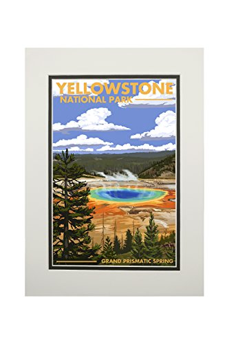 - Yellowstone National Park, Wyoming - Grand Prismatic Spring (11x14 Double-Matted Art Print, Wall Decor Ready to Frame)